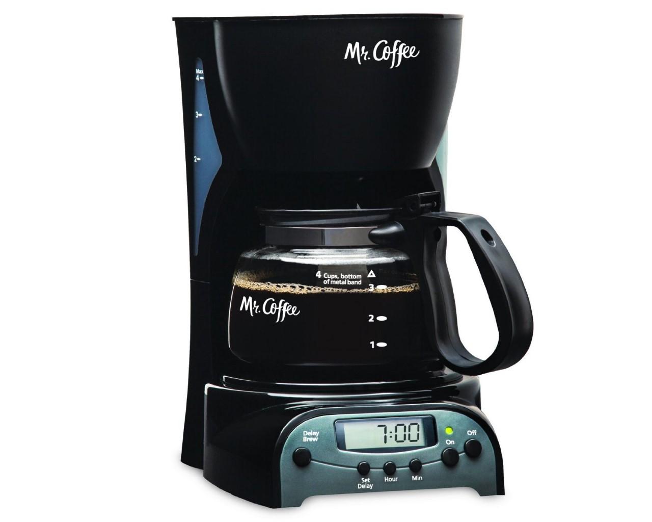 Mr. Coffee DRX5 4-Cup Programmable Coffeemaker, Black