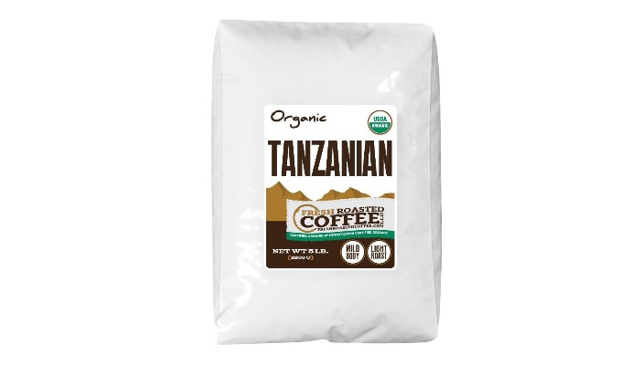 Tanzanian Tarime Organic Coffee, Whole Bean, Fresh Roasted Coffee LLC (5 lb.)